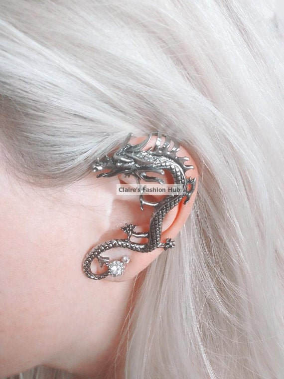 Game of thrones inspired customized hand painted dragon ear - Game of thrones dragon ear cuff ...
