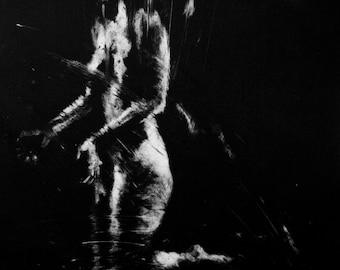 Haunting Figure Monotype Print, Descent XIII