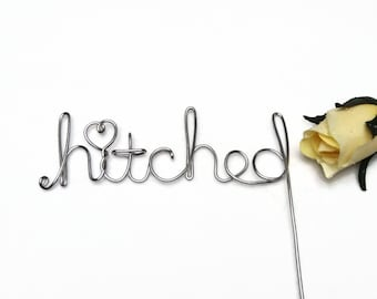 Hitched Rustic Wire Wedding Cake Topper With Stem - Brown, Silver, Gold, Red, Black, Copper