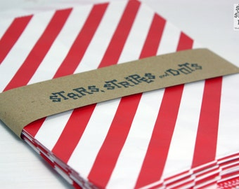 Favour paper bag, Middy Bitty paper bags, red & white diagonal striped, 25 pcs. Treat bag, wedding, birthday, baby shower, party