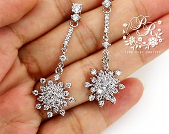Wedding Earrings Zirconia Snowflake Earrings Wedding Jewelry Bridal Earrings Christmas Earrings Snowflake Jewelry Bridesmaid Gift Bridal