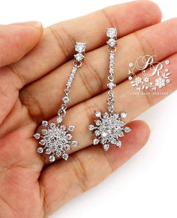 Wedding Gift For Bride Jewelry : Wedding Earrings Zirconia Snowflake Earrings Wedding Jewelry