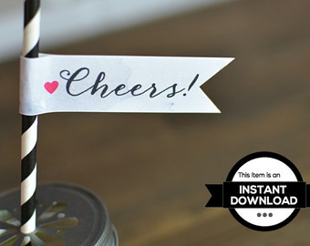 INSTANT DOWNLOAD • Watercolor Cheers Printable Flags
