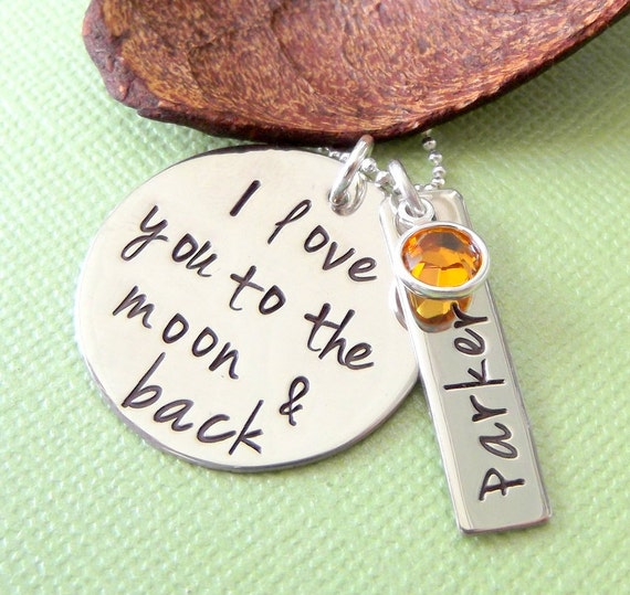 I Love You To The Moon & Back Necklace- New Mommy Necklace- Hand Stamped Mommy Jewelry- Personalized Mother Necklace- Mommy Name Tag Jewelry