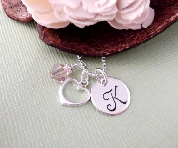 Heart Charm Initial Necklace With Birthstone- Hand Stamped Charm Necklace- Children's Jewelry