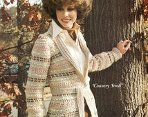 Vintage CROCHET Cardigan Pattern - Country Jacket Sweater - PDF Instant Download - Cardigan - Button Up Coat - Striped Fall Sweater - Vtg