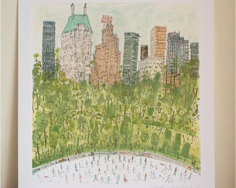 SKATING CENTRAL PARK Nyc Art, New York Skyline, Essex House Drawing New York Watercolor, Limited Edition Signed Giclee print Clare Caulfield