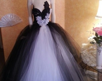 Russian Goddess Black & White Tulle Crystal Sequin Lace Vintage Victorian Inspired Bridal Wedding Ball Gown
