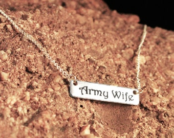 Military Wife/Girlfirend Necklace - Army Wife Necklace - Silver Bar Necklace - Personalized Engraved Necklace