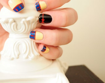 Disney Snow White Inspired Hand Painted Fake Nails