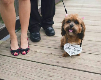 My Humans are getting Married Save the Date Sign Heart Signs Photography Props Enagement Pictures Wedding Small Dog Ring Bearer Flower Girl