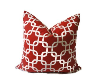 18x18 Red and White Premiere Print Throw Pillow (Poli Insert)