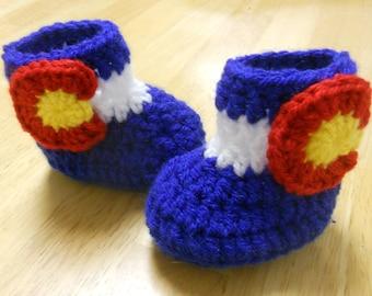 The Original Crochet Colorado Flag Baby Booties, Colorado Baby Booties, 0-3 months, 3-6 months, baby booties