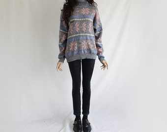 90s Vintage Grey Fall Patterned Sweater