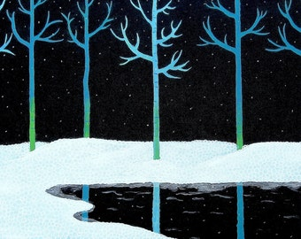 Acrylic Snow Painting Zen Painting Winter Teal White Minimalist Large Painting Art by Glorianna