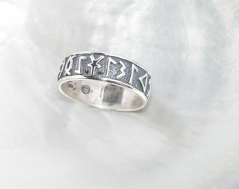 Handcrafted 925 Oxidized Sterling Silver Ring With Celtic Runes -Custom size