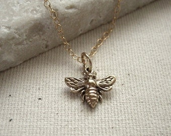 Bee Necklace Bronze on Gold Filled Chain - Woodland Necklace, Nature Jewelry