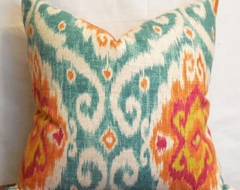 colorful linen-blend ikat pillow cover