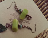 Vintage toggle button earrings in brilliant lime green