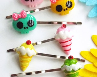 3 pairs childrens bobby pins Skull hair pins Kawaii Candy barrettes Ice cream hair clip Handnade accessories Kids bobby pins