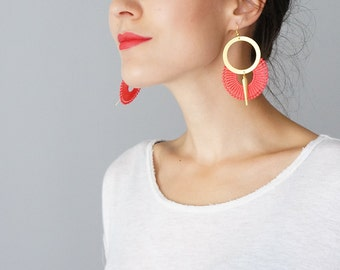 Hoop Earrings Vermilion Red Earrings Lace Earrings Statement Earrings Modern Earrings Gold Earrings Girlfriend / OCRI