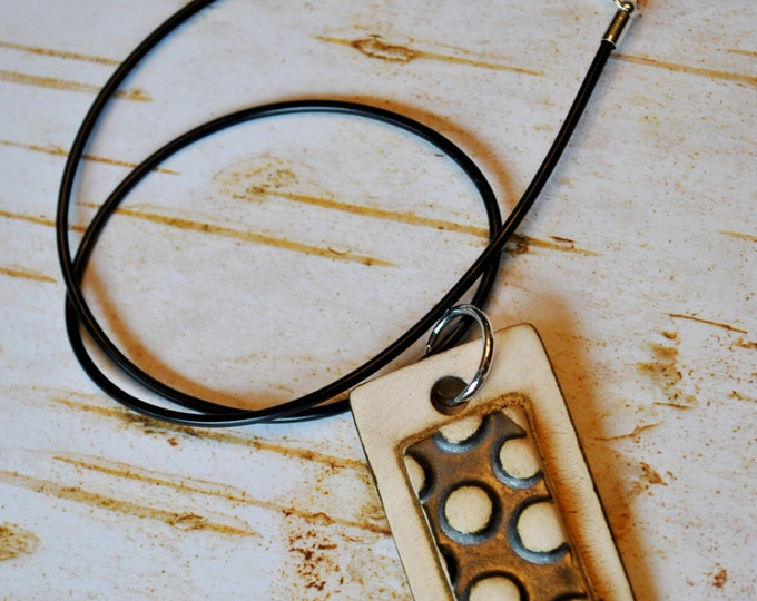 Men's Handcrafted Ceramic Pendant on a black rubber cord necklace chain simple, minimalist