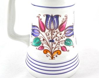 White Ceramic Beer Stein Beer Mug Beer Tankard Small Porcelain Vase Made in Hungary