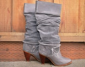 RESERVED for Cassandra Dusty Gray 80's Suede Knee High Zodiac Boots Sz.6