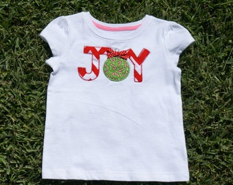 Joy Christmas Shirt with Bow Attached