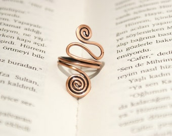copper ring wire ring wire wrapped ring adjustable wire wrapped copper ring wire wrapped jewelry handmade-copper jewelry