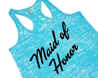 Maid-of-Honor Tank Tops. Bridal Party Tanks. Maid of Honor Shirt. Bridesmaid Tank. Bachelorette Party Tanks