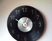 Upcycled disc jockey wall clock from vinyl LP record and CD, DVD disc ...