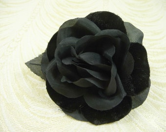 Silk and Velvet Rose Gardenia Black Millinery Flower NOS Vintage for Hats Corsage Brooch Hair 2FV0029BK