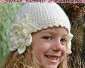 PATTERN Flower Earflap Hat - Crochet