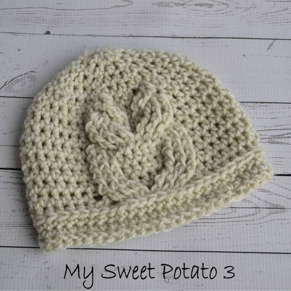 Items similar to PATTERN Owl Cable Hat - Crochet - Newborn ...