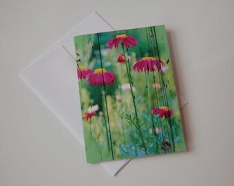 Pink Flowers Blank Greeting Card w/envelope, Flower Card, Greeting Card, Blank Card, Card, Gift Card, Art, all occasion, BUY MORE and SAVE