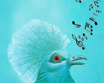 Animal painting portrait painting  Giclee Print Acrylic Painting Illustration Print wall art wall decor Wall Hanging: bird singing 3
