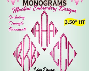 Diamond Monograms Machine Embroidery Designs Monogram Font Digital Download
