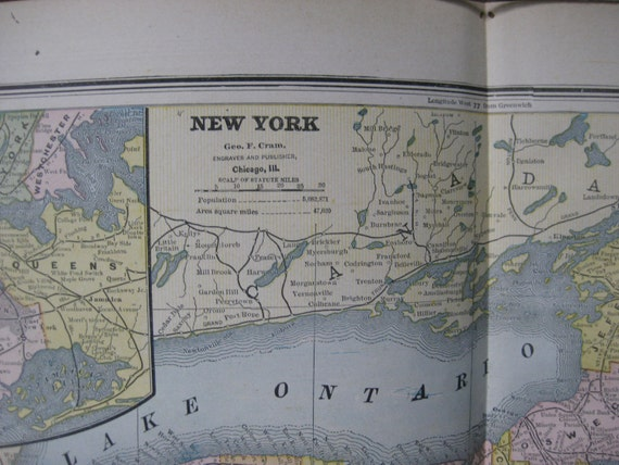 1888 Antique Map Of NEW YORK Connecticut And New Jersey