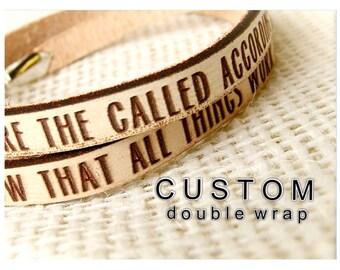 CUSTOM DOUBLE WRAP Daily Reminder Leather wrap bracelet