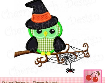 Halloween owl 01-Halloween Embroidery Designs-for 4x4 5x7 6x10 hoop-Machine Embroidery Applique Design
