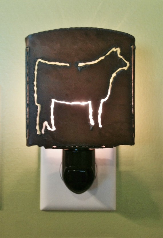 HEIFER cow nightlight night light made of Rustic Rusty Rusted Recycled Metal