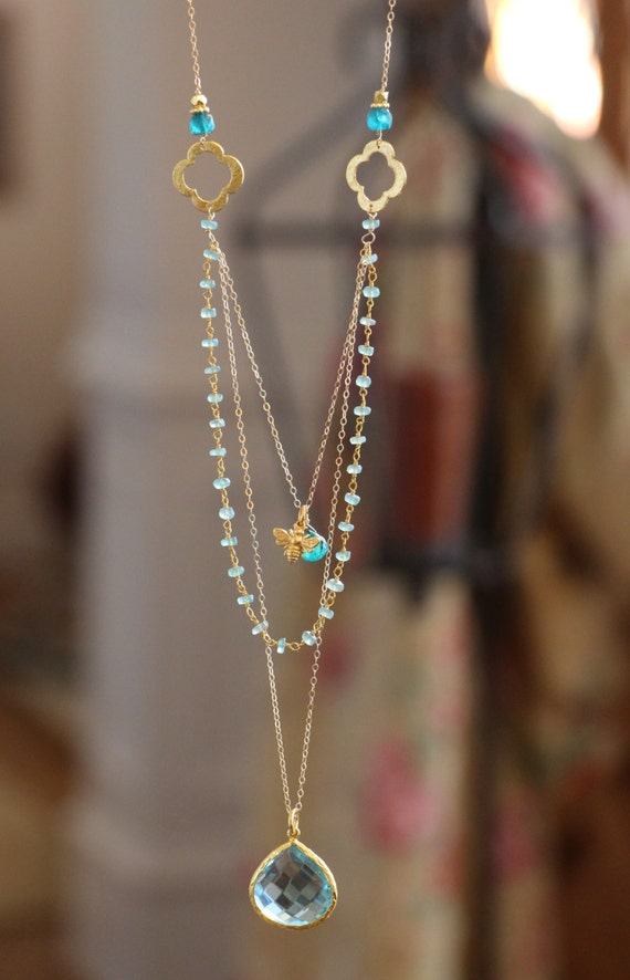 long multi layer necklace wire wrapped apatite w blue topaz. Black Bedroom Furniture Sets. Home Design Ideas