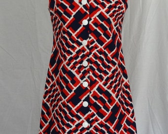 1960s Dress / Navy Blue Red and White MOD Abstract Print Scooter Dress Jumper