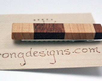 Wood tie clip/bar made of mahogany and maple father's day, wedding, gift for him one of a kind