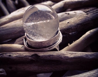 Clear Quartz Crystal Ball Ring - Statement Ring - Witchy Jewelry