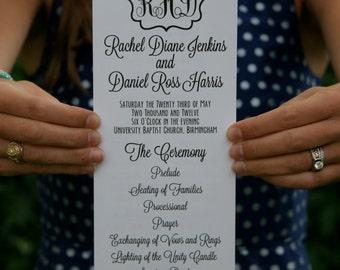 Digital PDF of Wedding Program with Monogram // Printable Template // Digital File