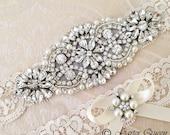 Ivory Lace Garter Set, Wedding Garter, Bridal Garter set, Rhinestone Garter, Ivory Garter, Crystal Garter