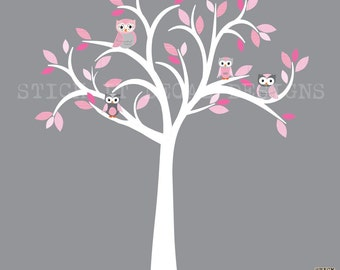 Owl decal, Owl tree wall sticker, Pink & Grey Owls, owl wall decal, nursery owl decor, Shades of Pink Design with White Tree