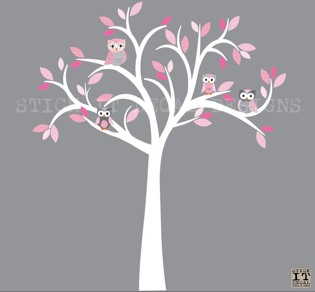 Owl decal owl tree wall sticker pink grey owls owl wall zoom amipublicfo Image collections